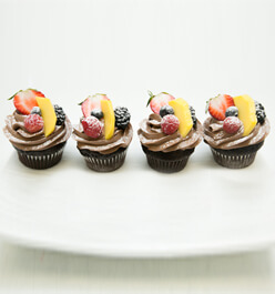 Chocolate cupcake with fruits