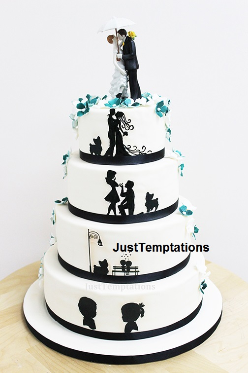 romantic black and white wedding cake
