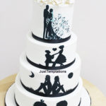 romantic draw-on wedding cake