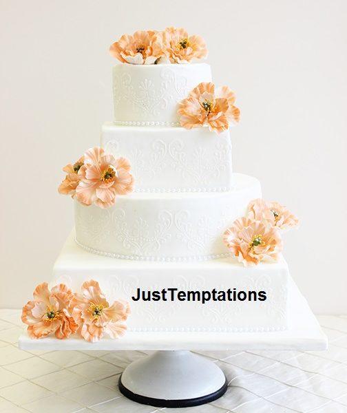 square floral white wedding cake