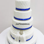 5 tiered wedding cake with blue touches