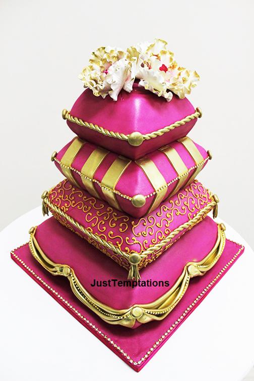 unique pink wedding cake