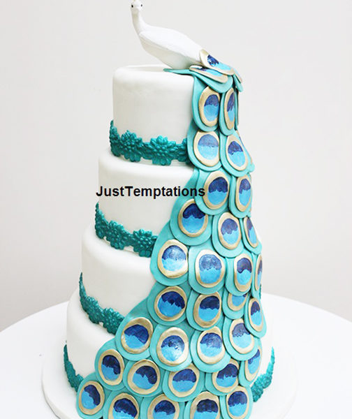 peacock 4 tiered wedding cake