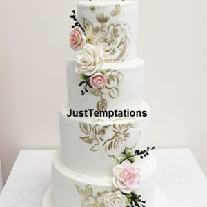 white 4 tiered wedding cake