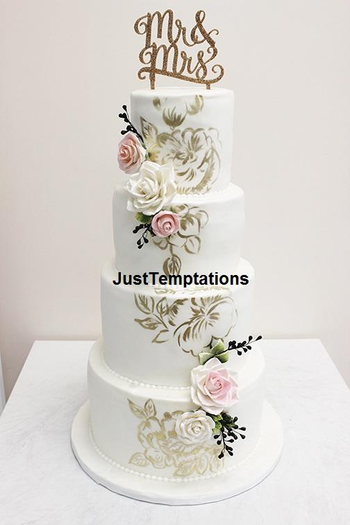 white 4 tiered wedding cake