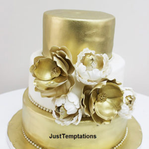 gold floral small wedding cake