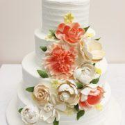 butter cream floral wedding cake