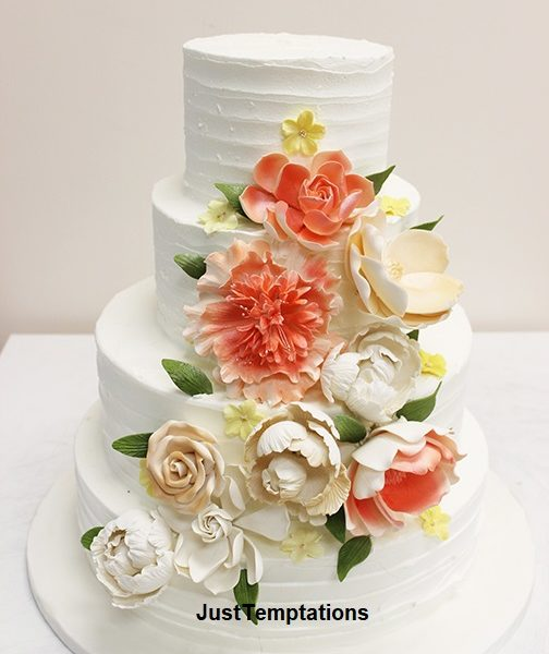 butter cream floral wedding cake
