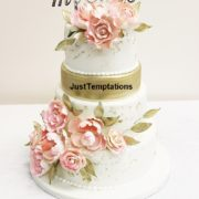 4 tiered floral wedding cake