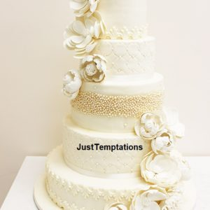 5 tiered pastel cream floral wedding cake