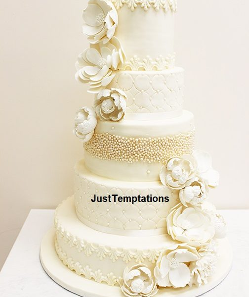 5 tiered pastel cream floral wedding cake