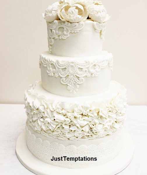 pure cream wedding cake