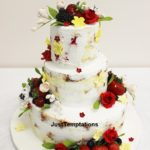 rustic wedding cake with fruits