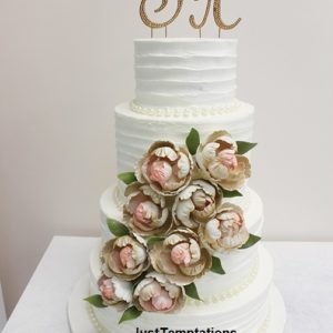 4 tiered white floral wedding cake
