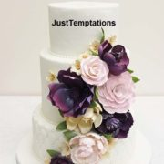 3 tiered floral wedding cake