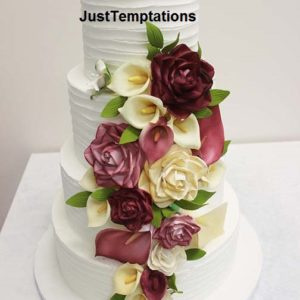 4 tiered butter cream floral wedding cake