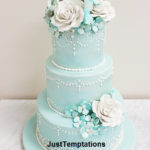 teal chic wedding cake