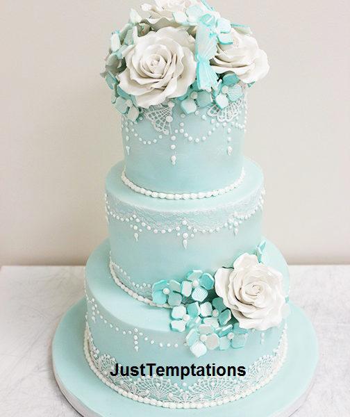 teal chic wedding cake