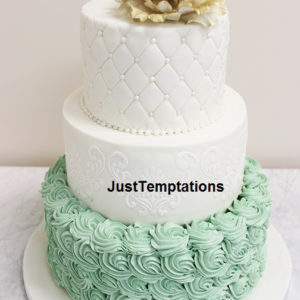 3 tiered green and white wedding cake