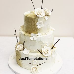 3 tiered cream with silver touched wedding cake