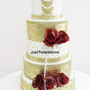 gold and red floral wedding cake