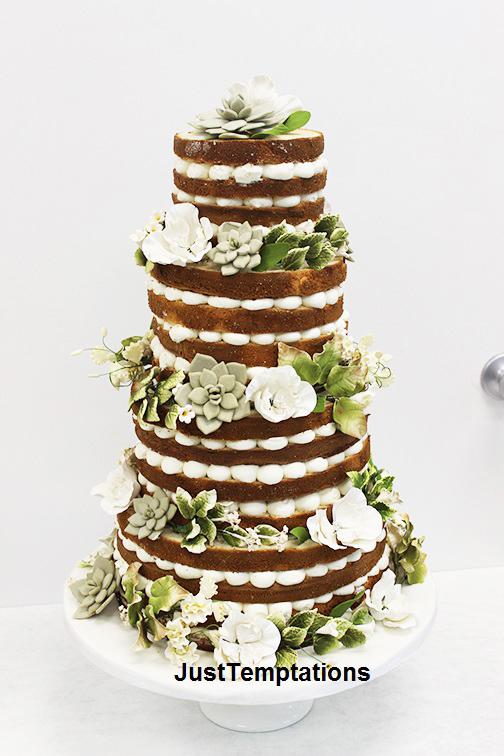 rustic naked wedding cake
