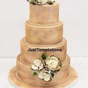 sprayed peach wedding cake