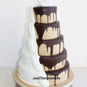 5 tiered chocolate dripping wedding cake