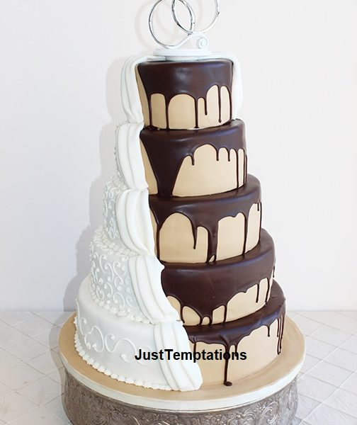 5 tiered chocolate dripping wedding cake