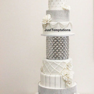 silver sparkle and white wedding cake