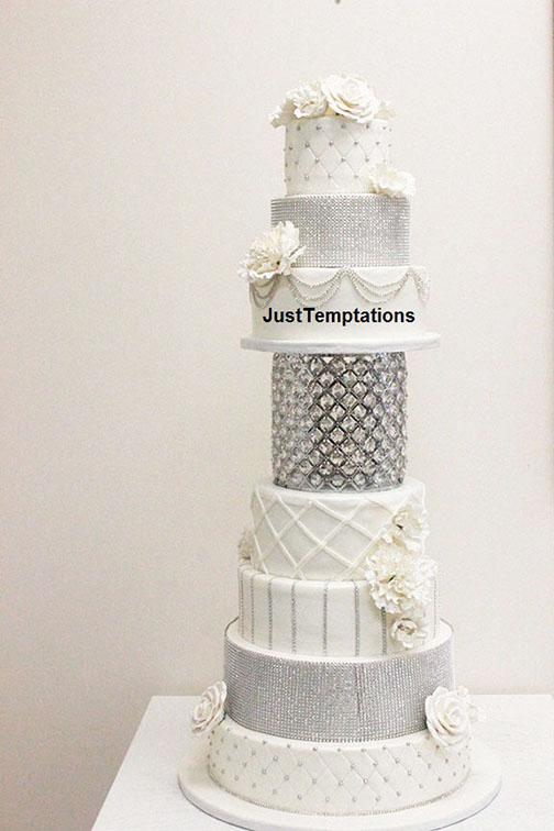 silver sparkle and white wedding cake
