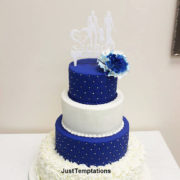 blue and white 4 tiered wedding cake