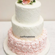white and pink 3 tiered wedding cake