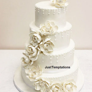 cream floral wedding cake