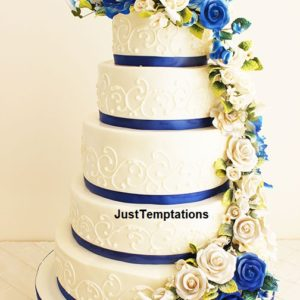 5 tiered white and blue wedding cake