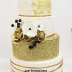 5 tiered gold confetti wedding cake