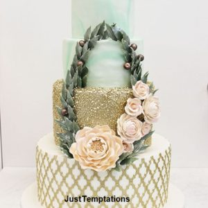 4 tiered gold confetti wedding cake