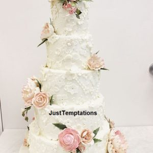 5 tiered chic pastel wedding cake