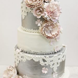 5 tiered pink, white and silver wedding cake