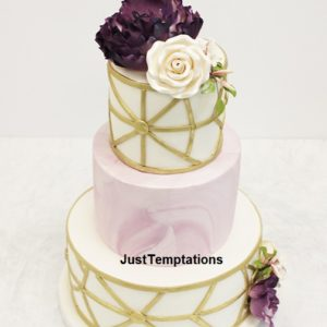 3 tiered geometric wedding cake