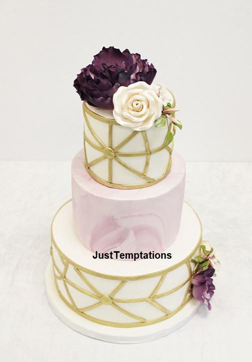 3 tiered geometric wedding cake