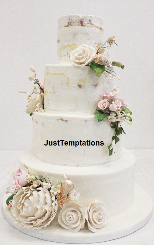 rustic 5 tiered pastel wedding cake