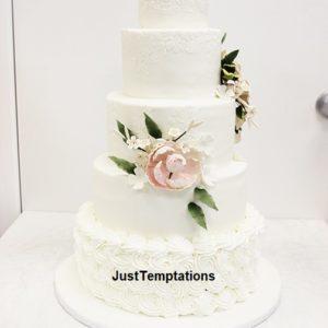 cream 5 tiered wedding cake