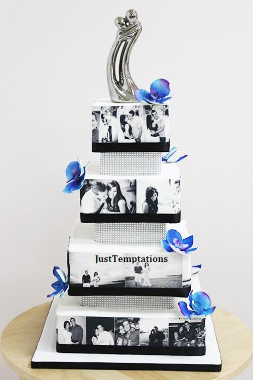 wedding cake with photographs