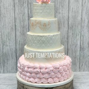 pink and cream 4 tier wedding cake