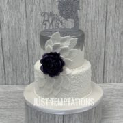 white nad silver wedding cake