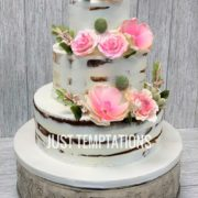 rustic cake with pink floers