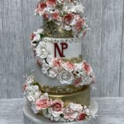 floral multi-colored wedding cake