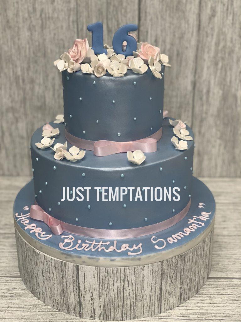 baby girl ribbon birthday cake